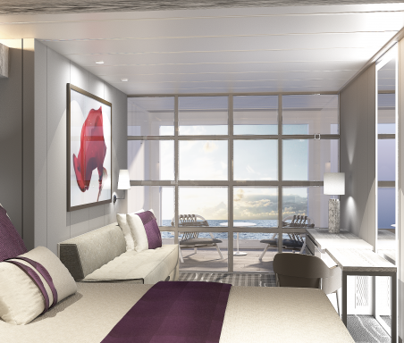 A grey cruise ship suite overlooking the ocean.
