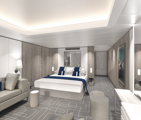Rendering of a grey cruise ship suite with dark blue furnishings.