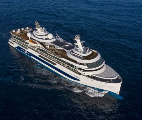 Celebrity Flora, FL, architectural, architecture, Galapagos Islands, luxury mega yacht, aerial, ship exteriors, at sea