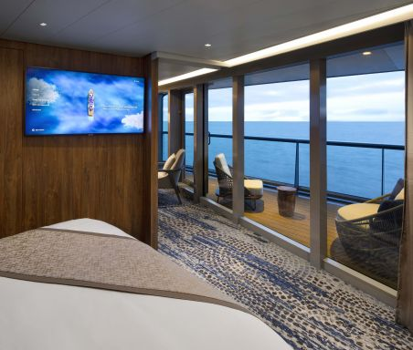 Celebrity Flora, FL, architectural, architecture, Galapagos Islands, luxury mega yacht, Royal Suite, accommodations, stateroom, cabin