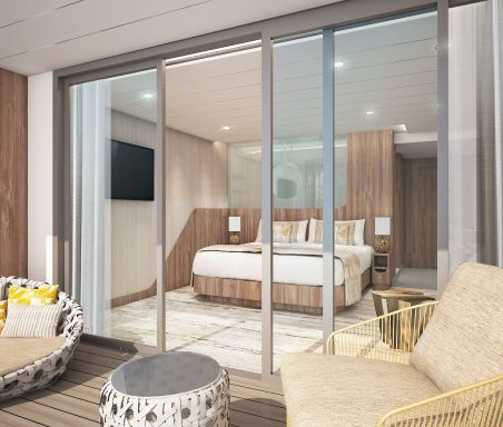 Celebrity Flora cruise ship Sky Suite with traditional veranda
