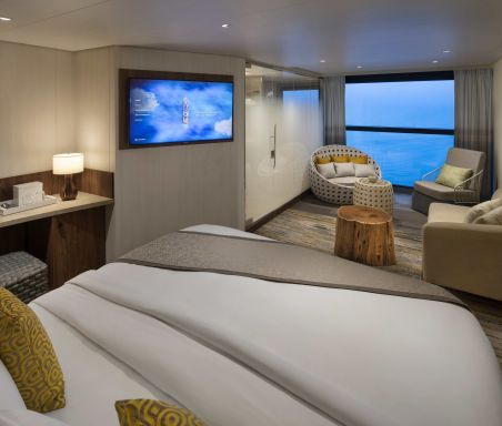 Celebrity Flora, FL, architectural, architecture, Galapagos Islands, luxury mega yacht, Premium Sky Suite with Infinite Veranda, accommodations, stateroom, cabin