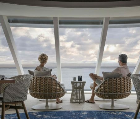 Celebrity Flora, FL, Galapagos Islands, all suite luxury mega yacht, Observatory, sight, sightseeing, couple, views, public room