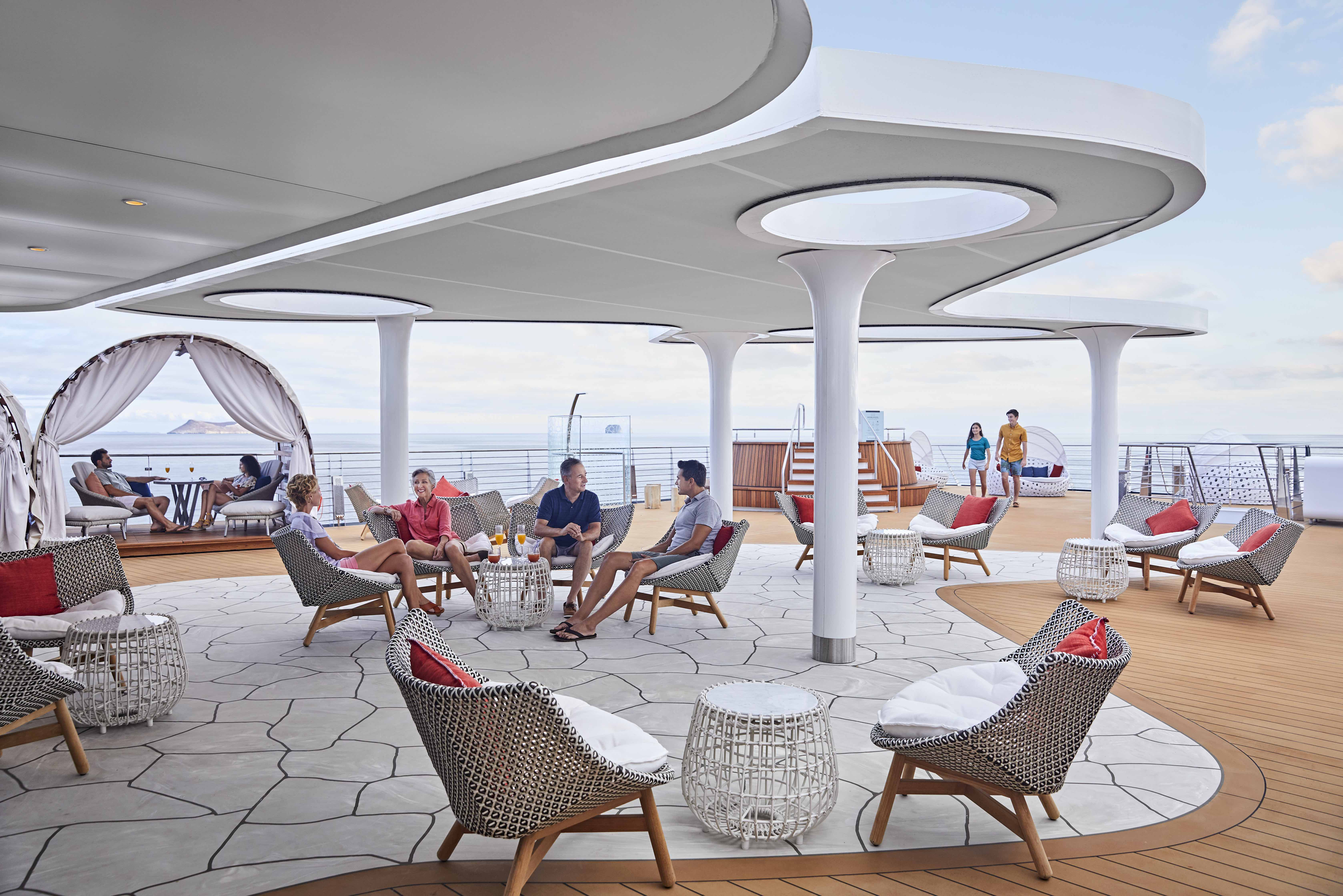 Celebrity Flora, FL, Galapagos Islands, all suite luxury mega yacht, The Vista, lounge, outdoor, jacuzzi, cabana, chairs, family, couples