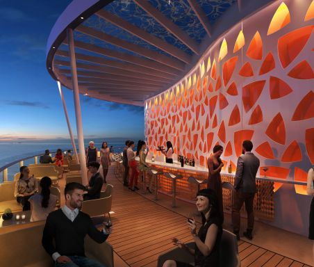 A bar on the deck of a cruise ship