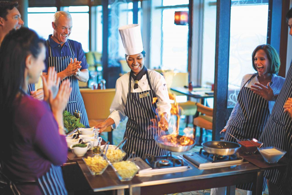 CEL, celebrity, celebrity cruises, SI, silhouette, celebrity silhouette, cooking, dining, staff and service, staff, chef, service, demonstration, cooking demo, cooking demonstration, solstice class, Celebrity Solstice class, cuisine, Tuscan Grille, activities, activity, group