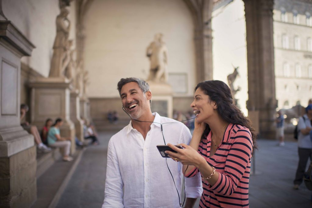 Italy, Florence, art museum, couple, listening to music, laughing, historical, cultural, landmarks, Shore Excursion, Europe,