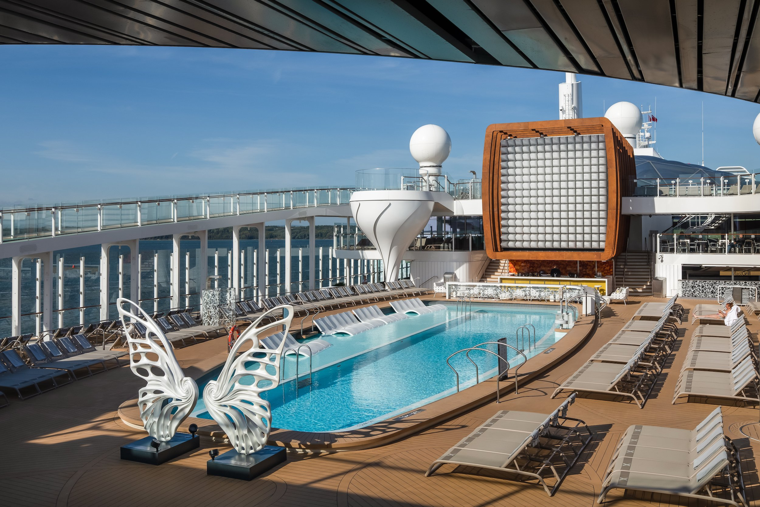 Swimming pool on Celebrity Edge deck