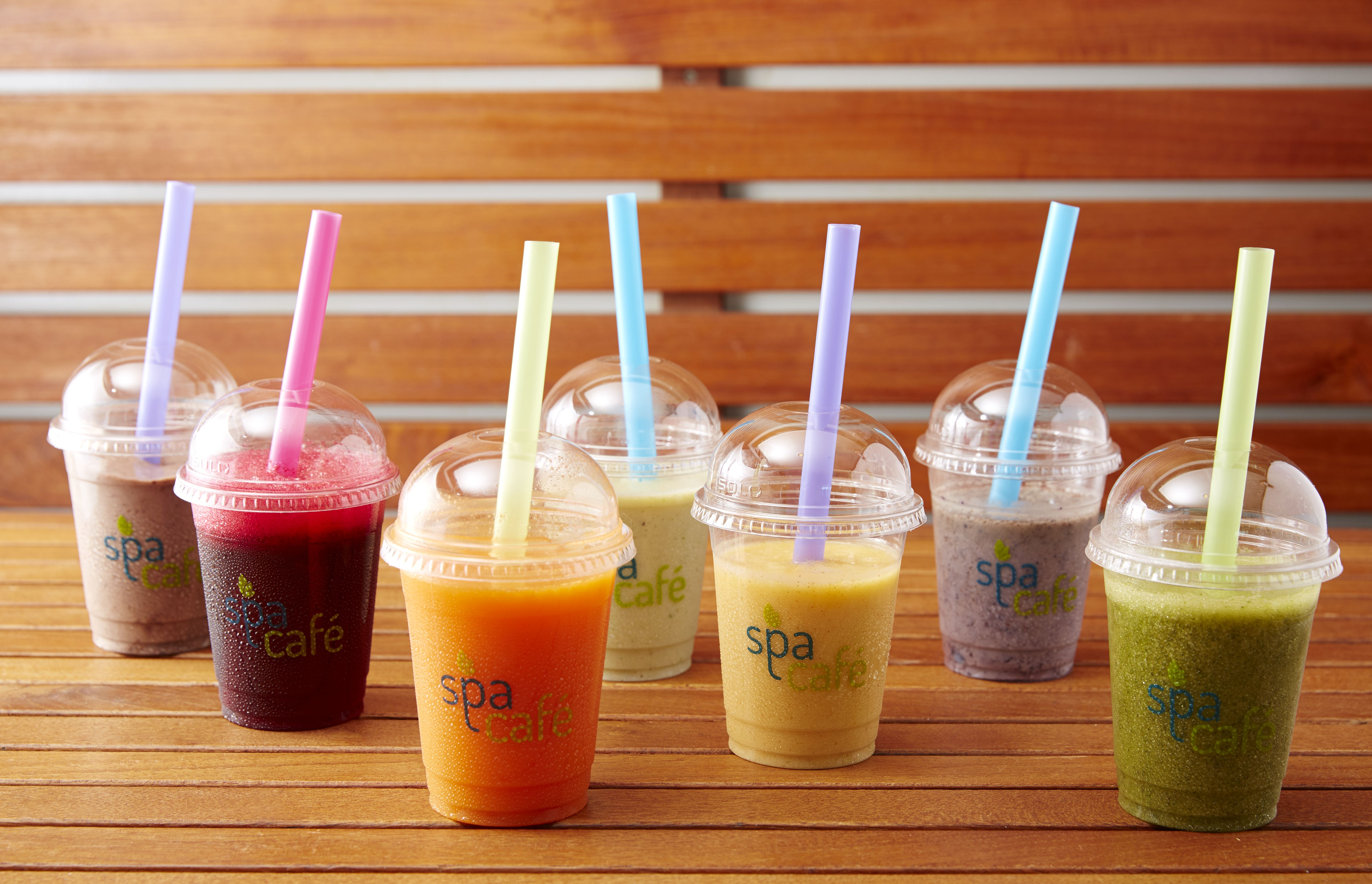 Row of colorful smoothies