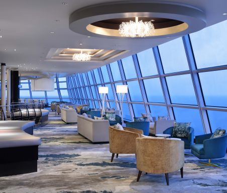 Celebrity Silhouette, SI, Celebrity Revolution, revitalized, refurbishment, public venue, public rooms, Solstice Class, Sky Observation Lounge, bars and lounges, seating, view, public rooms