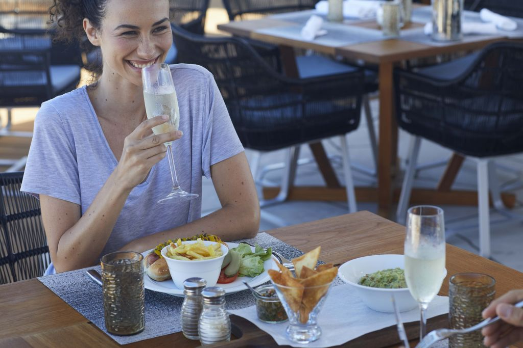 Celebrity Flora, FL, Galapagos Islands, Ocean Grill restaurant, dining, culinary, food, outdoor dining, female, talent
