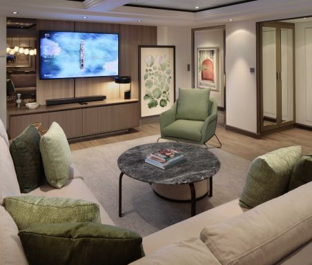 Celebrity Silhouette, SI, Celebrity Revolution, refresh, revitalization, update, staterooms and suites, cabins, accommodations, Penthouse Suite, living room