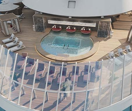 Aerial view of the cruise ship's sundeck