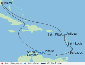 14 Night Exotic Southern Caribbean voyage map