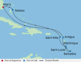 11 Night Southern Caribbean Cruise voyage map