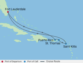 7 Night Eastern Caribbean Cruise voyage map