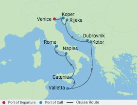 9 Night Dalmatian Coast & Italy Cruise voyage map