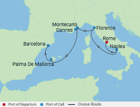7 Night Italy, France, Monaco & Spain voyage map