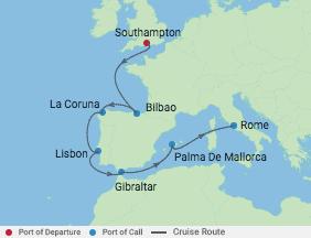 10 Night Iberian Peninsula Cruise voyage map