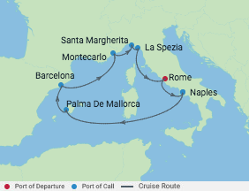 10 Night Italy, Spain & Monaco Cruise voyage map
