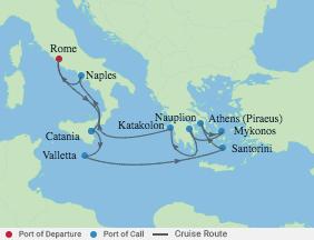 11 Night Italy, Malta & Best Of Greece voyage map