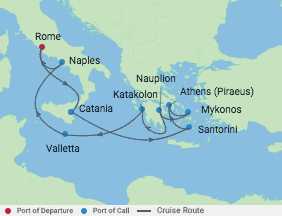 11 Night Amalfi Coast & Greek Isles voyage map