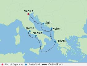 7 Night Italy, Croatia & Montenegro voyage map
