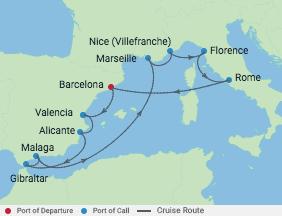 11 Night Western Mediterranean Cruise Voyage Map