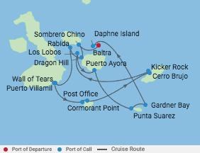 7 Night Galapagos Southern Loop Cruise voyage map