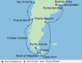 14 Night Chile, Argentina & Uruguay voyage map