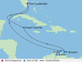 9 Night Aruba, Bonaire, Curacao Cruise voyage map