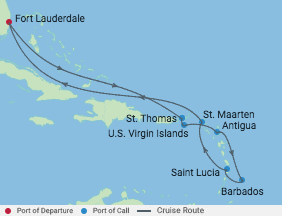 11 Night Ultimate Southern Caribbean voyage map