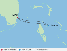 2 Night Bahamas Cruise voyage map