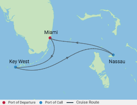 4 Night Bahamas Cruise voyage map