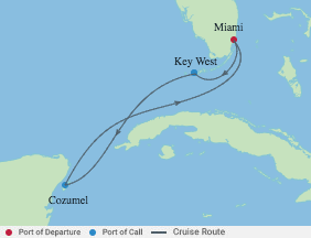 5 Night Mexico & Key West Cruise voyage map