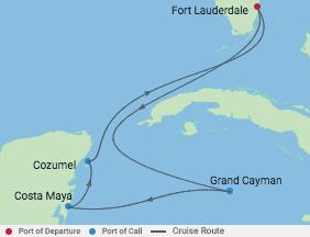 6 Night Western Caribbean Cruise voyage map