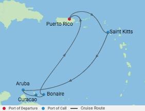 7 Night Southern Caribbean  Cruise voyage map