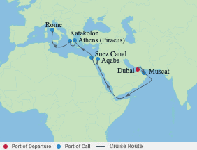 15 Night Dubai, Suez Canal & Greece voyage map