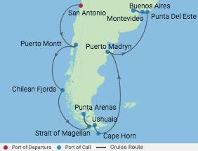 15 Night Chile & Argentina Cruise voyage map