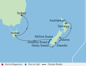 10 Night New Zealand Cruise voyage map