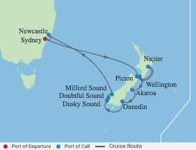 12 Night New Zealand Holiday Cruise voyage map