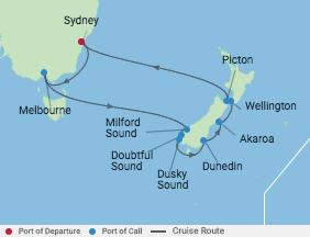 12 Night New Zealand Holiday voyage map