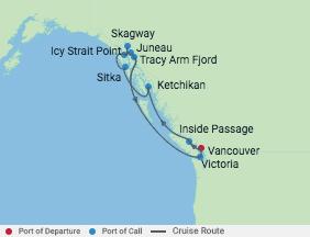 10 Night Ultimate Alaska Cruise voyage map