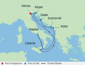 10 Night Italy & Croatia Cruise voyage map