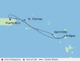 4 Night Southern Caribbean Cruise voyage map