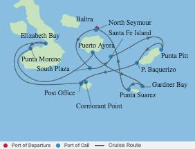7 Night Galapagos Southern Loop voyage map