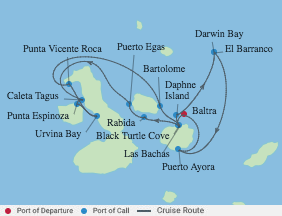 7 Night Galapagos Northern Loop Cruise voyage map
