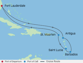 10 Night Ultimate Caribbean Cruise voyage map