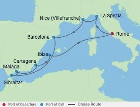 11 Night Best Of Western Mediterranean voyage map