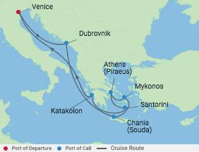 10 Night Greek Isles Cruise voyage map